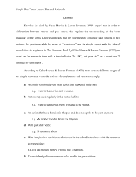simple past tense lesson plan and rationale rationale knowles