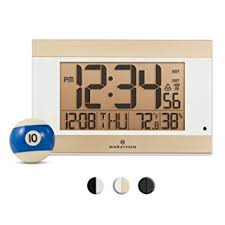 kitchen light temperature amazon com marathon cl030052wh atomic digital wall clock with