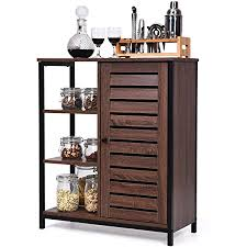 horizontal kitchen storage cabinets giantex standing baker s rack kitchen microwave stand storage cabinet industrial sideboard with 3 shelves and cupboard multipurpose organizer for