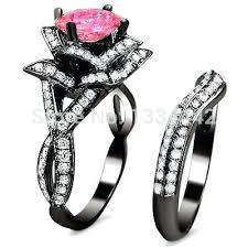black and pink wedding ring sets pink and black wedding ring sets blushingblonde