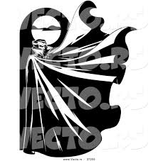 vector of a vampire below a full moon with his cape flapping