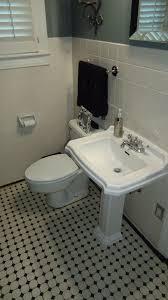 Kohler Pedestal Bathroom Sinks Traditional Full Bathroom With Pedestal Sink U0026 Penny Tile Floors