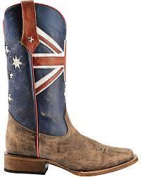 roper australian flag cowboy boots square toe eye catchers