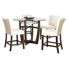 5 piece margo counter height dining table set wood white steve