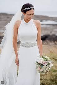 high neck halter wedding dress david s bridal in white by vera wang high neck halter