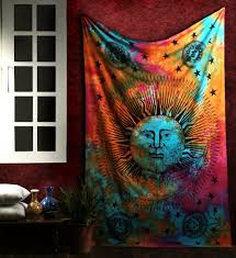 Wall Tapestry Hippie Bedroom Psychedelic Celestial Sun Moon Stars Tie Dye Tapestry Hippie