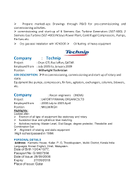 Heavy Equipment Mechanic Resume Examples by Resume Of John Prince Rotating Equipment Technician