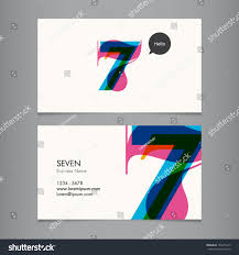 business card template number seven stock vector 156415613