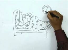 Drawing Of A Bed How To Draw A Sleeping With Doll Youtube