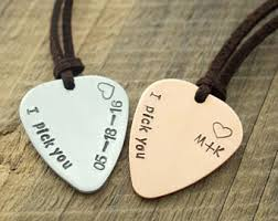 Engraved Guitar Pick Necklace Guitar Pick Necklace Personalized Guitar Pick Initial