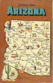 us map arizona state vintage state map postcard arizona state souvenir historic 1960