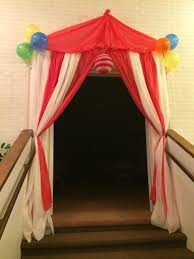 carnival decorations tent entrance we made for our circus themed preschool graduation