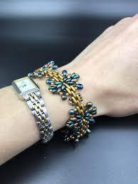 bead weave bracelet images Handmade beaded bracelet star bracelet bead weaving green bronze jpg