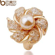 pearl rings prices images Bamoer high quality rose gold color imitation pearl ring for women jpg