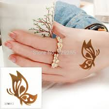 side butterfly gold flash metallic tattoos temporary