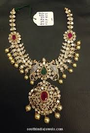 gold stone necklace images Gold stone necklace with pearls south india jewels jpg