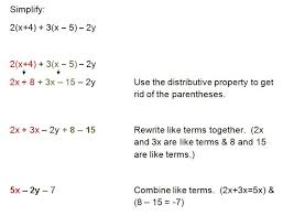 simplifying algebraic expressions and combining like terms