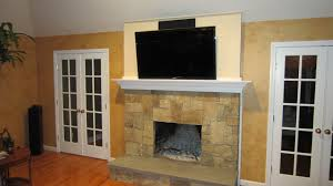 Yellow Fireplace by Newtown Ct Home Theater Tv Over Fireplace Home Theater Installation
