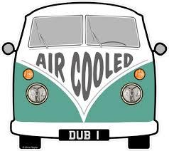 volkswagen van cartoon air cooled slogan for retro split screen vw camper van bus design