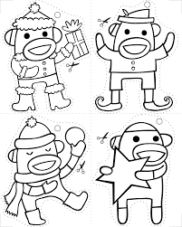sock monkey christmas coloring pages monkey socks and ornament