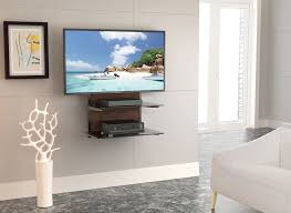 fitueyes audio visual wall mounted 2 layer shelves bracket stand