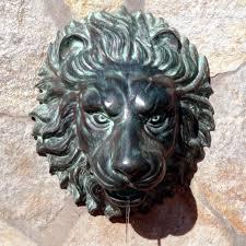 Garden Wall Plaque by Florentine Lion Head Spouting Wall Plaque Solid Bronze Garden