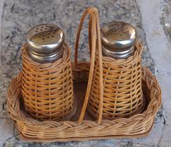 vintage salt and pepper shaker set wicker basket 1950s country