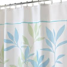 Blue And White Window Curtains White Fabric Curtain With Blue And Green Leaves On Stainless Steel
