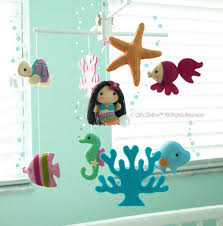 musical baby mobile mermaid and under the sea fish nautical theme