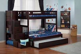Bunk Bed With Trundle And Stairs Wood  Bunk Bed With Trundle And - Wooden bunk bed with trundle