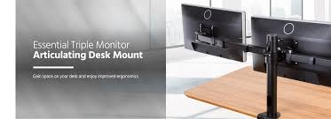 articulating monitor desk mount essential triple monitor articulating arm desk mount monoprice com