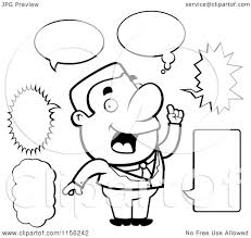 cartoon clipart of a black and white chatty businessman with