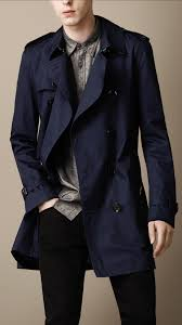 burberry brit midlength cotton trench coat in blue for men lyst