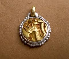 gold ancient indian coin silver frame chuck nash jewelry