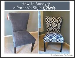 How To Make Slipcovers For Dining Room Chairs How To Recover A Parson U0027s Style Chair Furniture Revamp