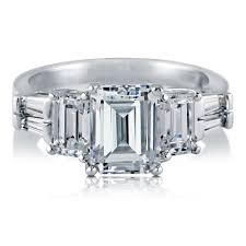 three emerald cut engagement rings sterling silver emerald cubic zirconia cz 3 engagement ring