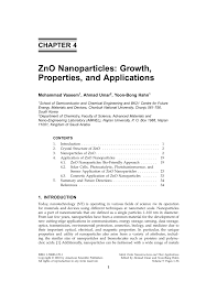 zno nanoparticles growth properties and applications pdf