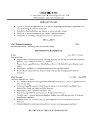 skill summary for resume attractive skills and summary and educations and chef training fullsize by teddy sher attractive skills and summary