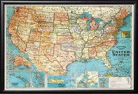Enlarged Map Of The United States by Amazon Com Framed Usa United States Map Vintage Style Black