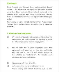 loan contract template 7 free pdf documents downloads free