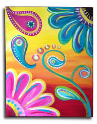paisley flower power original acrylic on by arstyfartsymommabear
