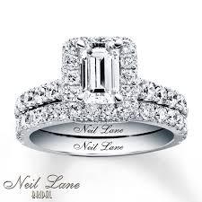 neil emerald cut engagement rings neil bridal set 2 1 2 ct tw diamonds 14k white gold 8 999 99
