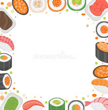 cuisine clipart sushi frame template with space for text japanese cuisine on white