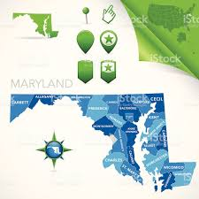 Md County Map Maryland County Map Stock Vector Art 165931048 Istock