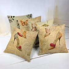 Shoe Home Decor Decorative Cushion Covers Vantage High Heeled Shoe Design Linen