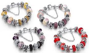 murano charm bracelet images Genuine murano glass and swarovski crystal charm bracelet groupon jpg