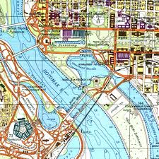pentagon map detail from a soviet map of washington dc in 1975 with the