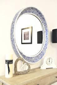mosaic oval bathroom mirror long frame designs ideas round