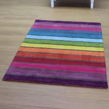 Multi Coloured Rug Uk Buy Rainbow Striped Multi Colour Rug Land Of Rugs