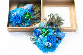 teal corsage peacock feather corsage set